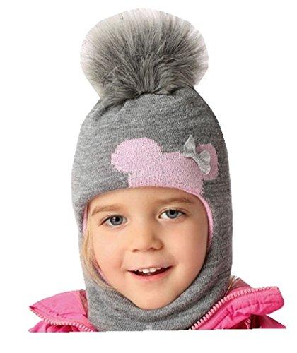 Mädchen Schlupfmütze Wintermütze Ballonmütze Beanie für Mädchen 3 - 6 Jahre alt, 50 -54 cm Kopfumfang, sehr dehnbar in 9 Farben (Grau / Rosa ... A) (Lustige Kinder-wintermütze)