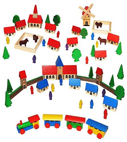 t: Dorf mit Eisenbahn, Windmühle, Schule, Häuser & Bäume, Figuren und Zäune - aus Holz - Baukasten - Original Erzgebirge - ideal für Holzeisenbahn G.. ()