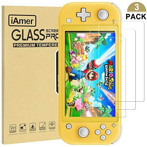 iAmer Displayschutzfolie für Nintendo Switch Lite, Schutzfolie 9H Härte HD Glas Blasenfrei Displayfolie passt für Nintendo Switch Lite 2019(3 Stück)