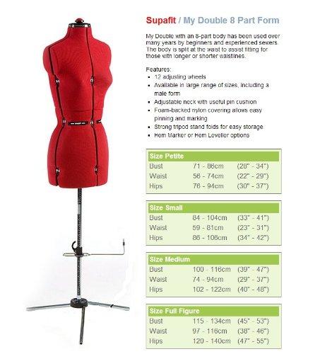 Full Figure Supafit 8 Part Form Adjustable Standard Dressmaking Doll Mannequin Tailors Dummy