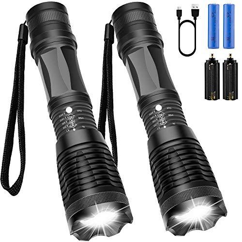 Maibahe【2 Pack】Lampe torche led ultra puissante 800 lumens CREE-T6 Lampe torche militaire...