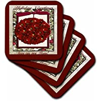 3DROSE CST _ 34243 _ 3 Cranberry Christmas Tree Ornament, Holiday Greetings Form our New home-ceramic tile sottobicchieri, set di 4