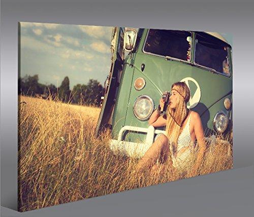 islandburner - Cuadro sobre lienzo furgoneta y hippie XXL