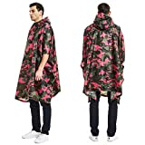 Javpoo Father's Day Men's Camouflage Belted Hooded Military Waterproof Mountaineering Raincoat
