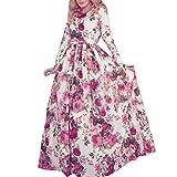 Zeagoo Damen Casual Blumen bedruckt Long Sleeve Maxi lange Kleider Partykleid