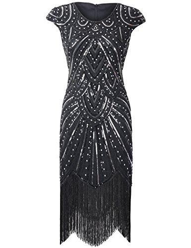 20er Gastby Diamant Pailletten versch?nert mit Fransen Flapper Kleid Luxus Schwarz S ()