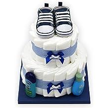 """Windeltorte """"Blue Shoes"""" für Jungen - mit Original Playshoes Babyschuhen - das perfekte Geschenk zur Geburt oder Taufe + gratis Grußkärtchen"""