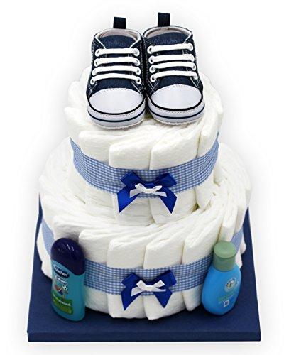 """Windeltorte""""Blue Shoes"""" für Jungen – mit Original Playshoes Babyschuhen – das perfekte Geschenk zur Geburt oder Taufe + gratis Grußkärtchen"""
