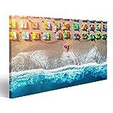Bild Bilder auf Leinwand Vogelperspektive der Lügenfrau mit Schwimmenring im Meer in Oludeniz, die Türkei. Sommermeerblick mit Mädchen, Blauem WA Wandbild, Poster, Leinwandbild OGJ