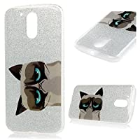 Motorola Moto G4 Case Glitter 5.5 Inch MAXFE.CO Luxury Glitter Sparkle Bling Case Enhanced Protection Air Cushioned Hybrid Dual Layer Bumper Shell [PC Back Side + TPU Frame] Stylish Colorful Painted Case Slim Fit Cover Anti-Scratch Shock-Absorption Full Body Durable Skin Shell For MOTO G4 - Sad Cat