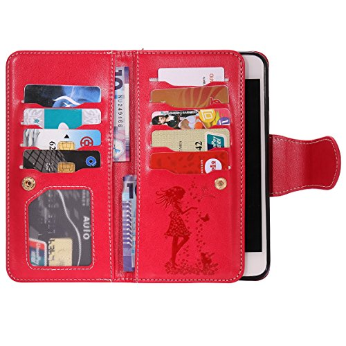 EUWLY Case Cover per iPhone 7 Plus/iPhone 8 Plus (5.5) Custodia Portafoglio PU Pelle Ragazza e Gatto con Cordino Lanyard Fiori Modello PU Leather Wallet Case Cover Supporto Stand, Staffa, Slot Holder Rosso