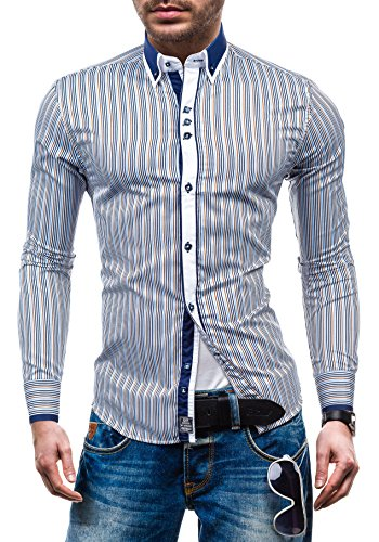 BOLF – Chemise casual – avec manches longues – BY MIRZAD 6855– Homme Marron