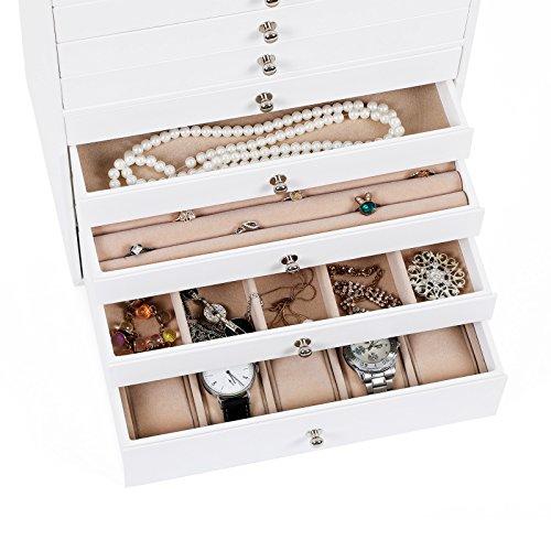 Songmics Schmuckkästchen Uhrenkoffer Schmucklade 10 Schichten mit Schubladen JBC10W -