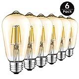Lampadina LED Edison vintage, 4W (Equivalente a incandescenza 40W) Stile antico 2700K, Lampadina E27 400LM a filamento, Bianco caldo, ST64, Confezione da 6, Bianco Caldo