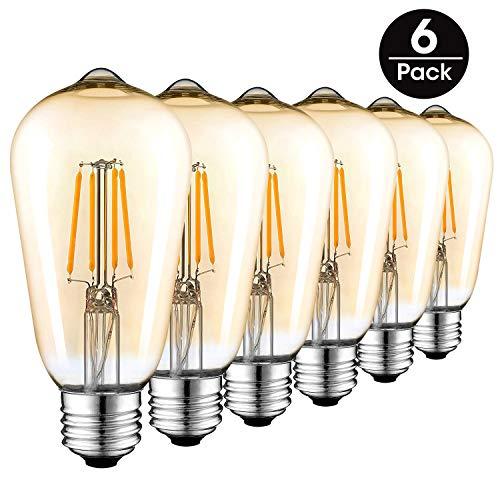 Vintage Edison LED Glühbirne, 4W (Gleichwertiges Glühlampe 40W) E27 400LM Weinlese Antike Art 2700K Warmes Weiß ST64 Retro Filament Lampe 6-Pack, Goldfarbe