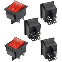 SODIAL(R) 5 x Interruptor Basculante Luz Iluminado Rojo On/Off DPST 16A/250V 20A/125V CA