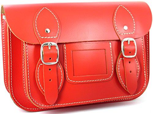 Realizzato a mano da artigiani in Spagna - Vera Pelle di alta qualità - Scuola Satchel / Satchel Bag / Borsa a tracolla / Borsa a cartella donna Rosso - Compatto: 24 x 17 x 10cm