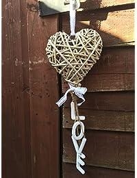 Rústica de mimbre del corazón colgantes blancos Cartas de Amor lamentable decoración de la boda de la vendimia