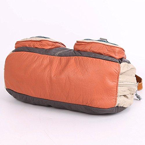 Angelkiss 3 Top Cerniere multi tasche Borse Lavato borse in pelle borse a spalla zaino 1593/2M Grigio