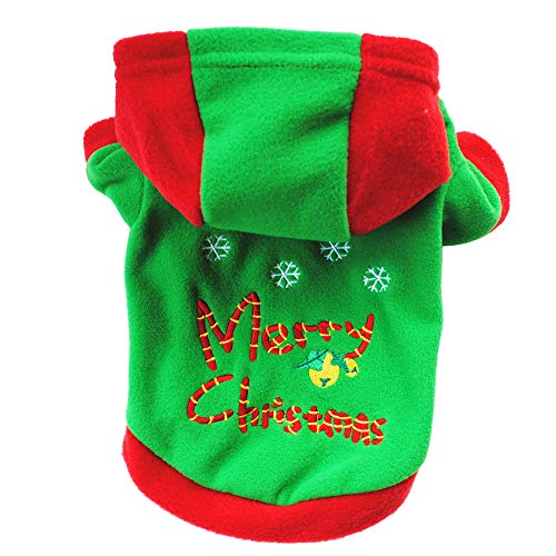 Colorful Hundekleidung, Weihnachten Hundemantel Hundejacke Hundepullover Warm Winter Kapuzen-Sweatshirt Haustier Hund Welpen Hoodie Pullover Fleece warme Kleidung (Grün, XS) -