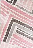 Designer moderner Teppich Pink Frame Streifen geometrisch creme rosa grau in 4 Größen ideal für Wohnzimmer Schlafzimmer und Jugendzimmer (120 x 170 cm)