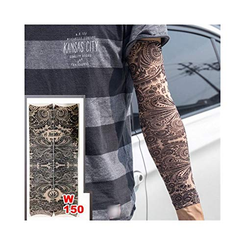 Temporäre Tattoo-Ärmel,Motorradhülle Sonnenschutz, Fake Temporäre Tattoo-Ärmel Tattoos Full Long Slip On Arm Tattoo Sleeve Kit Men Elastic Nylon Glove Tattoos Black Skull Design w150