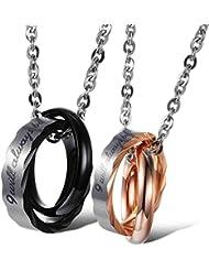 AnaZoz Joyería de Moda Acero Inoxidable Cadenas Collar Colgante Para Mujer Hombre Cubic Zirconia Amantes Anillos Love 18 y 22 Pulgadas Negro Oro
