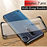 one Plus 7 Pro Cover Mobistyle Ultra Thin Frameless Matte Transparent with Ring Buckle Back Cover Case for oneplus 7 Pro (Ring Black)