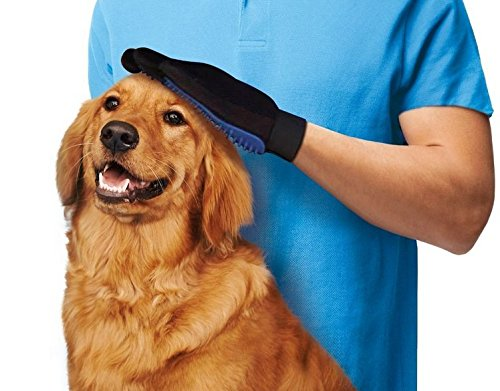 True Touch 2-In-1 Pet Glove Deshedding Glove Grooming Tool, Pet Hair Remover Mitt - For Cat & Dog- Gentle Deshedding Brush 2