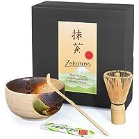 zekaano Set de–Original Matcha Japonesa–Cuenco de té Matcha (Chawan) Beige/Marrón hecha a mano, escoba de té Matcha (Chasen) y la cuchara de bambú (Chas Haku), tradicional, Aricola®