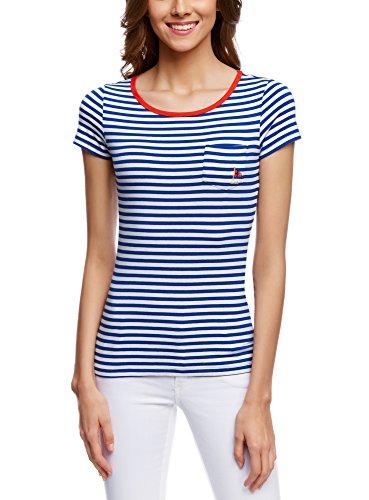 oodji Ultra Damen Gestreiftes T-Shirt, Blau, DE 36/EU 38/S (Marine-blau-prime T-shirt)
