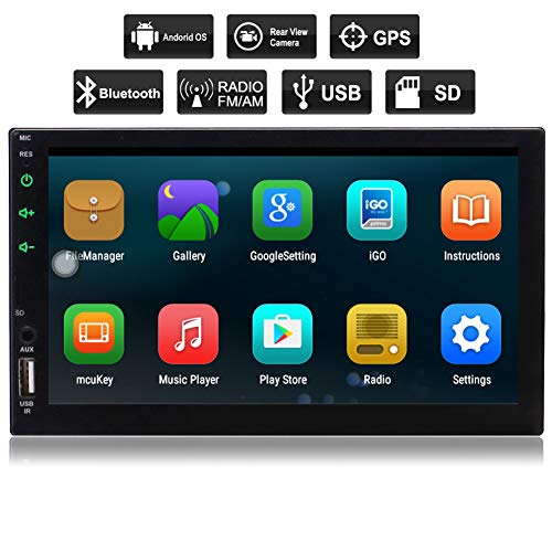 EINCAR Android 6.0 Auto-Stereo-Radio Doppel-DIN-Bluetooth-GPS-Navigation Quad Core, Unterstützung Mirrorlink, WiFi, Backup-Kamera-In, USB SD, 7-Zoll-5-Punkt-Touch Screen, externes Mikrofon, Fernb Ptt-system