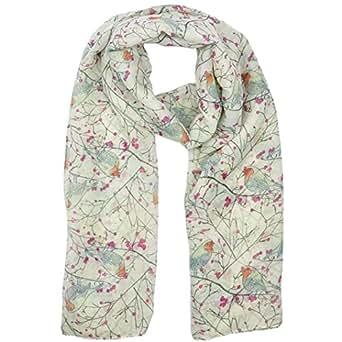 Koly Women's Lady Long Cute Bird Print Scarf Wraps Shawl Soft Scarves (Beige)