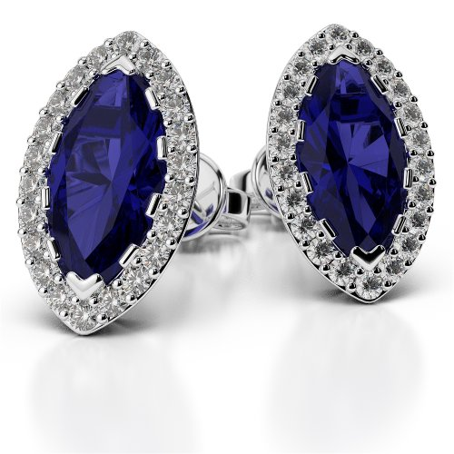 Or blanc/or/Rose/Jaune/Or/Platine forme marquise saphir et diamant Boucles d'oreilles ager-1068-vsgh
