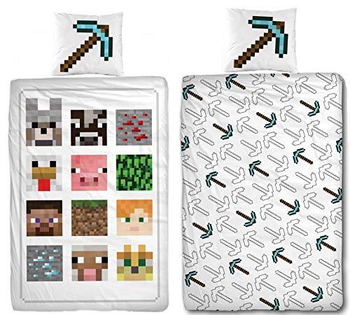 Familando Wende Bettwäsche-Set Minecraft, 135x200cm + 80x80cm, 100{fe2aa57c47409915977c7dae5b87df52e8a2bbdb99bb760ed78e91a93dd9e767} Baumwolle, Motiv Defeat Blöcke TNT