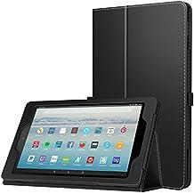 MoKo Hülle Fire HD 10 Tablet (7th Gen.- 2017 Modell) - Kunstleder Ständer Schutzhülle Smart Cover mit Auto Sleep/Wake up für All-New Amazon Fire HD 10,1 Zoll Tablette, Schwarz