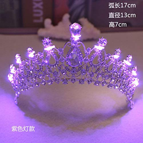Brautschmuck Kristall glänzend große Krone Haarschmuck europäischen Retro Barock Krone mit Lampe Kopfschmuck Hochzeit Zubehör 12# (mit lila Lichter) -
