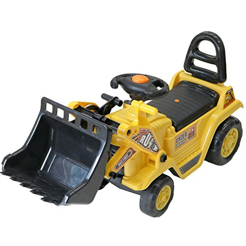 Oypla Childrens 3-in-1 Ride on Push Along Yellow Mini Digger Bulldozer Forklift