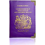 Passport Holder For UK And European Passport Protector Cover Wallet PU Leather by Lizzy® (Purple)