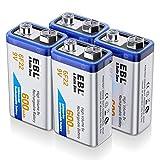 EBL 9V Li-Ionen Block Akku 6F22 Batterie 600mAh höchste Leistung Lithium-ionen Batterien, Geringe Selbstentladung, Mit Aufbewahrungsbox 4 Stück (Akkuladegerät Nicht inkl.)