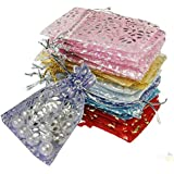 25 Pcs Drawstring Organza Gift Bags Jewelry Pouch Packing Storage Sacks for Wedding Party Shower Birthday Christmas Jewelery DIY Craft