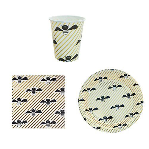 36 Stück Einweg Geschirr Set Papier Geschirr Party Supplies für Halloween Party Dekoration, inkl. 10 Pappteller, 10 Tassen und 16 ()