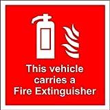 A2z Fire 2-kg Feuerlöscher dieses Fahrzeug Transportiert ein Fahrzeug auf der Innenseite, Fensterclip Wandtattoo Panneau de Sicherheit–Sticker Selbstklebend 100x 100mm x 100mm