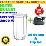 24 oz Cup & Flip to go lid Compatible with Nutribullet 600/900