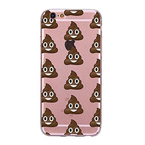 Incendemme Handycase Handyhülle Schutzhülle Handytasche Case Back Für iPhone TPU Emoji Vintage Kreativ Apfel Slim Transparent Original (iPhone 8 Plus, Poop) Poop