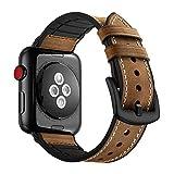 KZKR Uhrenarmband für Apple Watch Kalb Leder Silikon Armband Uhr Ersatzband Uhrenarmbänder mit...