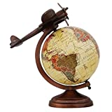 #10: Aone India Antique World Globe with Aeroplane Educational Learning Rotating Desktop Globe - Perfect for Kids, Geography Students, Teachers and More - Classic Design - 8 Inches