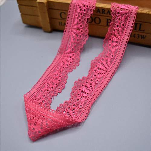 DACCU 2019 New elastische Spitzenband Band 30mm breit Borte Stretch-Spitze gestickte Net Cord trimmt Für Kostüme afrikanisches Spitzegewebe Nähen, Rosen-Rot, 5 Yards