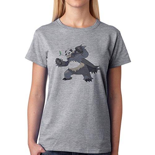 Pokemon Panda Grey And Black Angry Damen T-Shirt Grau