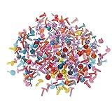 Ogquaton 200 PCS Coloré Brads Rond Brads Artisanat Estampage Attache De Papier Scrapbooking Outil De Bricolage pour Artisanat en Papier, Fabrication de Cartes de Couleur Aléatoire